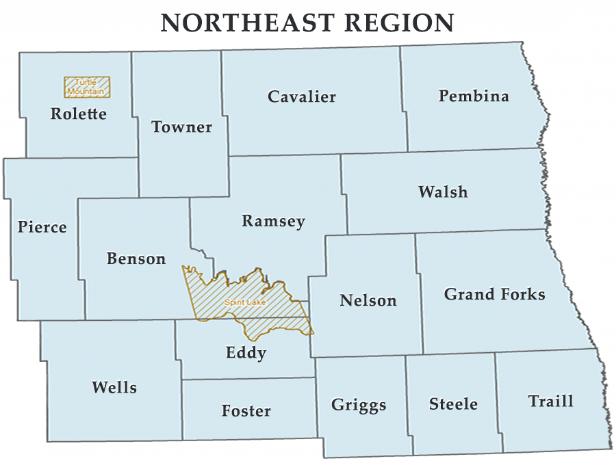 ND Emergency Management North East Region Map