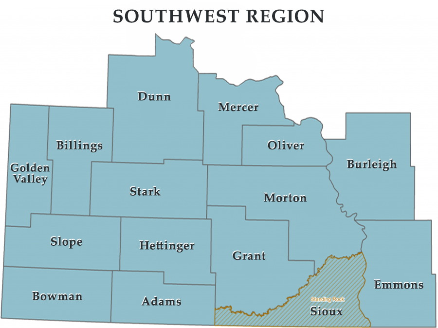 ND Emergency Management South West Region Map