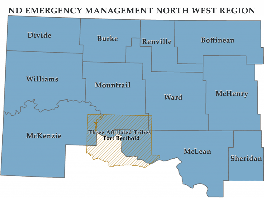 ND EMERGENCY MANAGEMENT NORTH WEST REGION Map