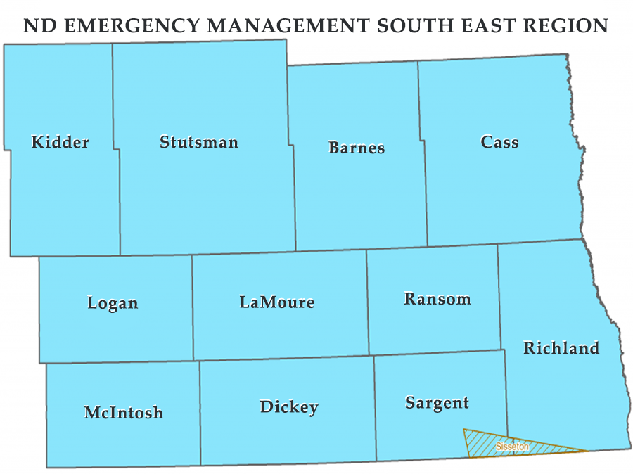 ND EMERGENCY MANAGEMENT SOUTH EAST REGION Map
